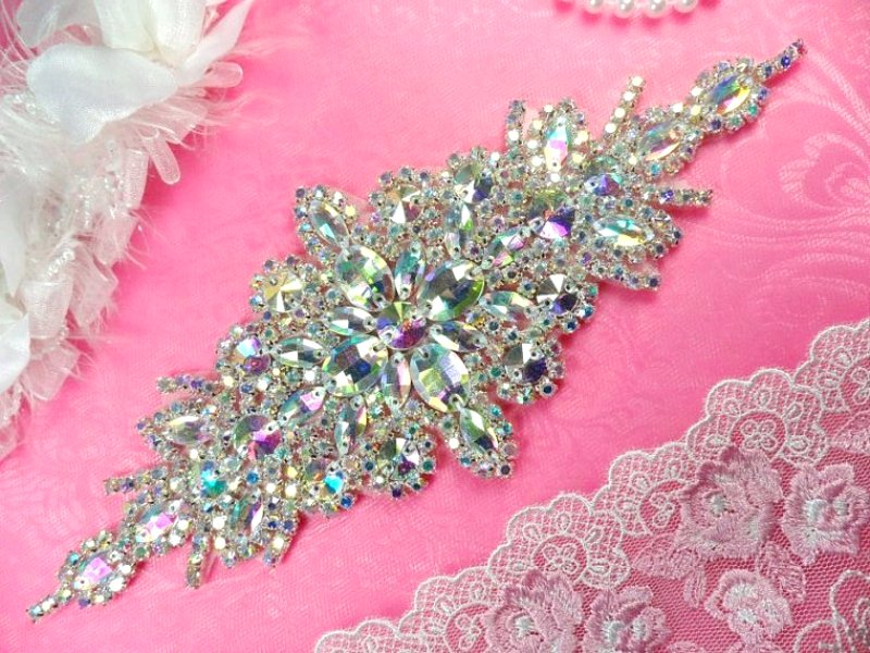 Sequin & rhinestone appliques & venice lace trim for sale from